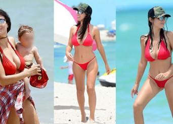 Bacary Sagna's WAG Ludivine Pictured in a Red Bikini